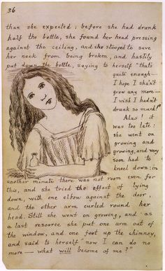 Lisa- This depicts a page from Lewis Carroll's original manuscript of Alice's Adventures in Wonderland. It shows Carroll's initial idea for how Alice would look. WE can also compare and contrast with the modern appearance of Alice Lewis Carroll, Walt Disney, Charles Perrault, John Tenniel, Alice Liddell, Illustration, Adventures In Wonderland, We Are The World, Decks