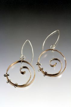 Circle Spiral Hoops - Materials: Argentium silver, sterling silver, brass, copper $80.00