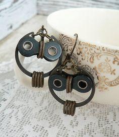 Owl Earrings Bronze  & Black Steel Bicycle Chain Hardware by doveandflower (24.00 USD) http://ift.tt/1iLQPz9
