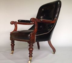 A William IV mahogany and leather arm chair circa 1830.