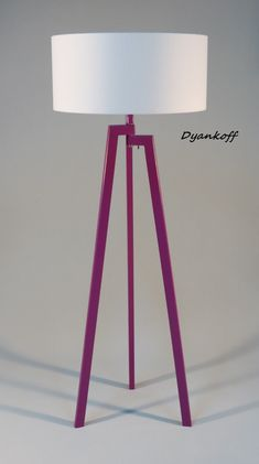 Handmade Tripod Floor lamp, unique wooden stand colored in purple, drum lampshade, different colors lampshade,model Zornitsa Purple rain