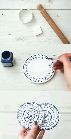 Coasters That Are to DIY For Paint plain, clay coasters with a delicate pattern for tea-time ready decor.Paint plain, clay coasters with a delicate pattern for tea-time ready decor. Diy Clay, Clay Crafts, Diy And Crafts, Diy With Clay, Kids Crafts, Clay Projects, Diy Projects To Try, Weekend Projects, Clay Paint
