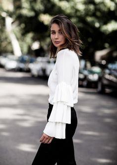 white ruffle sleeves