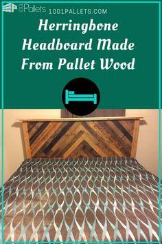 Diy Pallet Wood Herringbone Headboard