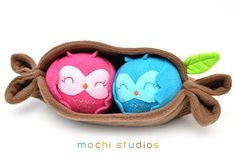 Two Owls in a Log Pod Plush
