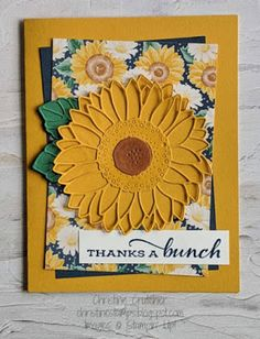 Thank U Cards, Sunflower Cards, Creative Arts And Crafts, Wink Of Stella, Fall Cards, Stamping Up, Stampin Up Cards, I Card, Birthday Cards