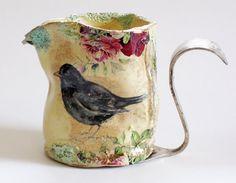 Ceramic Blackbird jug fired 5 times highlighted by ClaireBakerArt