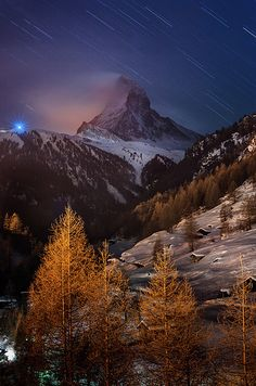 Matterhorn with star trail; photo by Coolbiere Photograph
