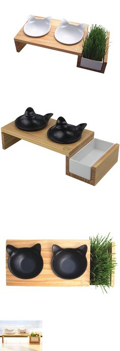Dishes Feeders And Fountains 177784 Vivipet Elevated Cat Food Stand With Ceramics Bowls Mykonos