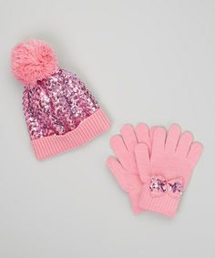 Take a look at this Pink Sequin Beanie & Gloves by Capelli New York on #zulily today!