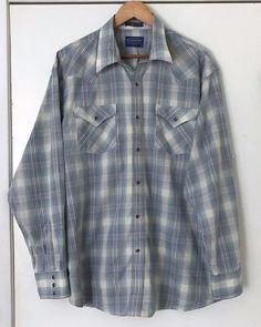 247507af Pendleton Frontier Shirt XL Blue Plaid Amber Pearl Snap Buttons Cotton  Blend #Pendleton #Western