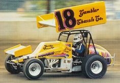 """Back in 1982, the Gambler """"house car"""" was a premier ride on the National sprint car scene. Indiana's Danny Smith was the shoe in this photo. (HammerDown! Collection)"""