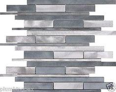 Grey & Silver Brushed Aluminum Kitchen Bath Backsplash Mosaic Tiles-11 Sheets in Home & Garden,Home Décor,Tile Art   eBay