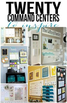 "A great list of 20 different organized ""command centers"" - all kinds of different spaces and clutter solutions.  And they're pretty, too! #organization"