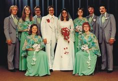 Heather and Boris, 1976 newlyweds with their wedding party