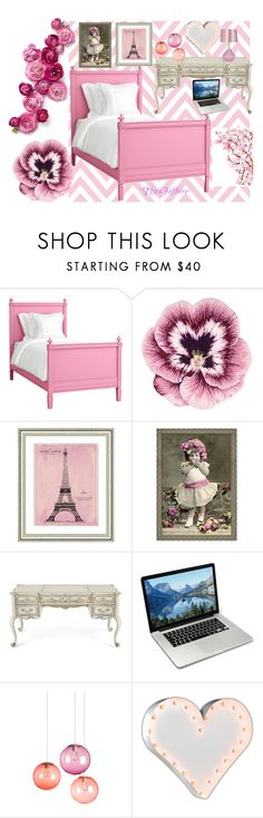 """""""Maturing Little French Girl Bedroom"""" by tigerfashion ❤ liked on Polyvore featuring interior, interiors, interior design, home, home decor, interior decorating, Redford House, Nourison, Vintage Print Gallery and Hooker Furniture"""