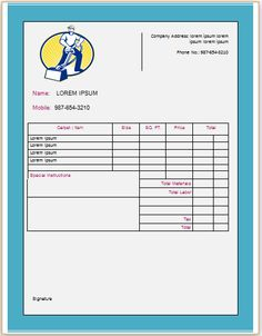 Carpet Cleaning Invoice Template 9 Business Professional Hacks