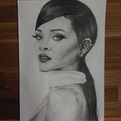 rihanna pencil drawing on Instagram
