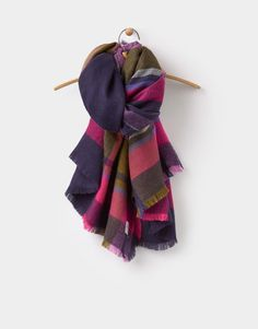 Joules 124073 Womens Berkley Scarf in Laurel Check Size One Size