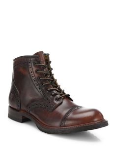 Frye | Brown Logan Leather Brogue Cap-toe Boots for Men | Lyst