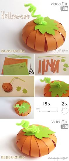 manualidades-faciles-niños-como-hacer-calabaza-de-papel-halloween-DIY-P . Theme Halloween, Halloween Crafts For Kids, Halloween Projects, Holidays Halloween, Halloween Pumpkins, Fall Halloween, Happy Halloween, Halloween Decorations, Kids Crafts