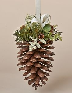 "6"" Natural Pine Cone Hanger with Faux Pine, Eucalyputs, Meadow Grass and Ivory Bow"