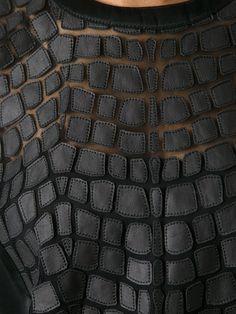 HELMUT LANG - Black lamb skin patchwork top A quilt – that comes with a Textile Texture, Fabric Textures, Textile Fiber Art, Couture Details, Fashion Details, Helmut Lang, Fabric Manipulation Techniques, Fabric Manipulation Fashion, Clothes 2018