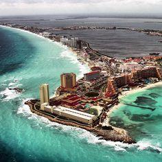 Aerial shot of Cancun