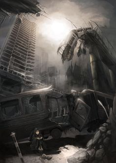 Inspiration for a setting in #MetalShadow. Ruined city by Reneder.deviantart.com on @deviantART