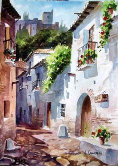Calle tipica de Granada. Jose Camero Hernandez - Artelista.com www.artelista.com569 × 800Buscar por imagen Calle tipica de Granada. Acuarela Papel Paisaje Visitar página Ver imagen