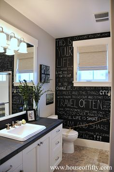 Isabella & Max Rooms: Street of Dreams Portland Style - House Cute idea for a bathroom wall just by using Chalk board paint. Teen Bathrooms, Bathroom Kids, Bathroom Wall, Teen Bathroom Decor, Teenage Bathroom, Bathroom Graffiti, Basement Bathroom, Sweet Home, Inspiration Design