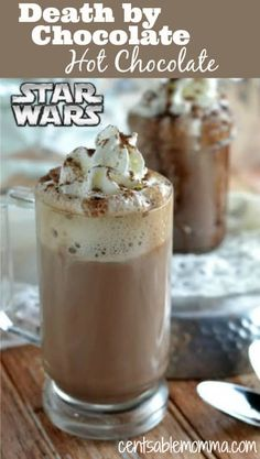 Celebrate the newest Star Wars movie with this Death by Chocolate Star Wars Hot Chocolate recipe. Made with lots of chocolate, vanilla, milk, and cream, its sure to warm you up on those cold winter days. via Centsable Momma - Corrie Cocoa Recipes, Hot Chocolate Recipes, Vegetarian Chocolate, Chocolate Smoothies, Chocolate Shakeology, Chocolate Cocktails, Chocolate Desserts, Chocolate Stars, Death By Chocolate