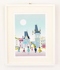 Prague, Charles Bridge : Cityscape Art Print / City Art Print / Prague Illustration