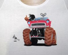 Mole in monster car airbrushed on t-shirt