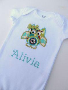 Personalized Owl Onesie-Personalized Embroidered Owl Onesie- Baby Girl Onesie- Infant Bodysuit- Applique Owl Onesie. $16.00, via Etsy.