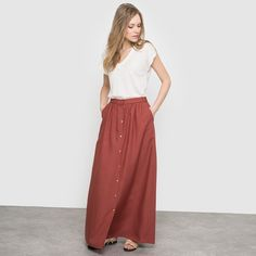 Long Gypsy Skirt with Front Button Fastening   Burgundy \ Red Brown   #frenchstyle