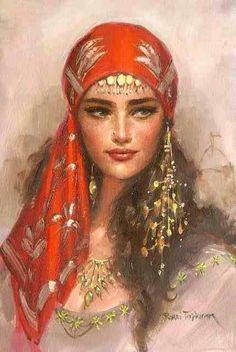 This is such a beautiful portrait. I de love to have the real portrait hanging on my wall ---by Remzi Taşkıran Des Femmes D Gitanes, Santa Sara, Halloween Karneval, Foto Blog, Gypsy Women, Gypsy Girls, Gypsy Life, Gypsy Style, Boho Gypsy