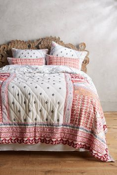 No more boring bedding: brighten things up with bohemian printed quilts and coverlets. Visit Anthropologie and transform your bedroom! Embroidered Bedding, Cotton Bedding, Quilt Bedding, Linen Bedding, Bed Linens, Twin Bed Linen, Toddler Girl Bedding Sets, Sweet Home, Bed Linen Design