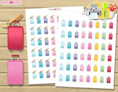 Suitcase Printable planner stickers, Travel kit printable for Erin condren, happy planner, filofax, kikki k