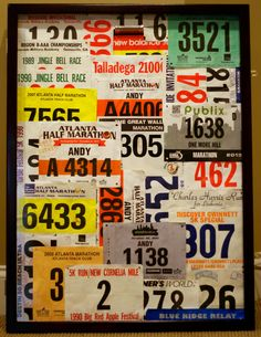 What to do with all those race bibs and numbers you've collected over the years?   Here's what I did: Created a race number collage in a shadowbox. Has a sampling of all my races except for Peachtree Road Races - those are hanging from another board.