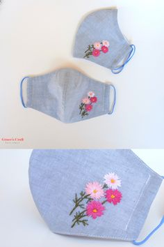 Hand Embroidery Videos, Embroidery Flowers Pattern, Hand Embroidery Designs, Embroidery Stitches, Easy Face Masks, Diy Face Mask, Crochet Mask, Mask Design, Mask For Kids
