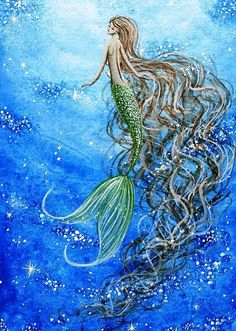Mermaid+Art | Miniature painting of beautiful mermaid rising peacefully to the ...