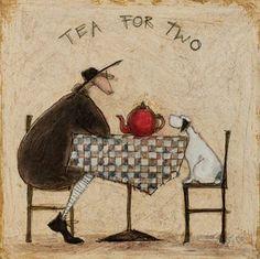 Sam Toft Office Dog | Tea For Two Art Print by Sam Toft
