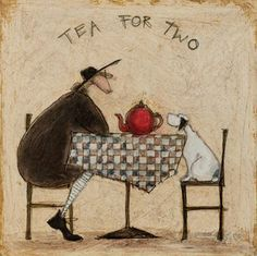 Sam Toft Office Dog   Tea For Two Art Print by Sam Toft