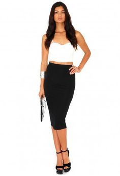 Missguided - Jeania Ribbed Bodycon Midi Skirt In Black