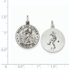 Versil Sterling Silver St. Christopher Baseball Medal