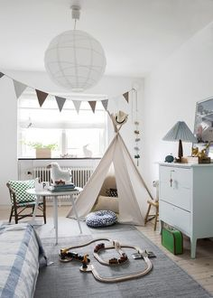 Kids' rooms are typically jam-packed with personality and a lot of fun. It's the one place where you throw out the rule book and combine patterns, color and kitsch with flair. This looks great,...
