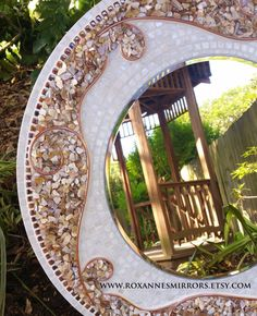 White Mother of Pearl Mosaic Mirror by RoxannesMirrors on ETSY