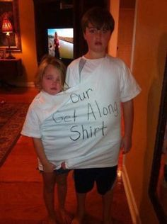 Nip sibling fights in the bud by making a get along shirt. I'm sure this will help prevent many fights!