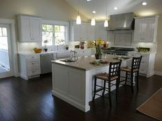 L-shaped Kitchen with Island   Shaped Kitchen with Island with White Kitchen Cabinets   Honey Do's